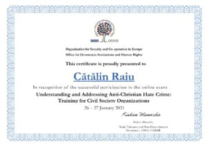 Participarea reprezentanților FoRB România la training-ul Understanding and Addressing Anti-Christian Hate Crime organizat de OSCE - Certificat - Catalin Raiu