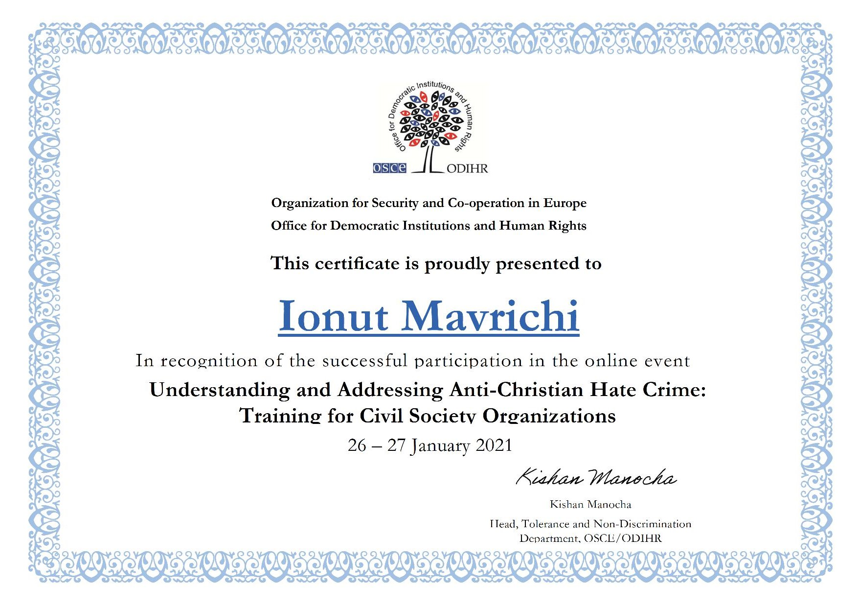 Participarea reprezentanților FoRB România la training-ul Understanding and Addressing Anti-Christian Hate Crime organizat de OSCE - Certificat Ionut Mavrichi